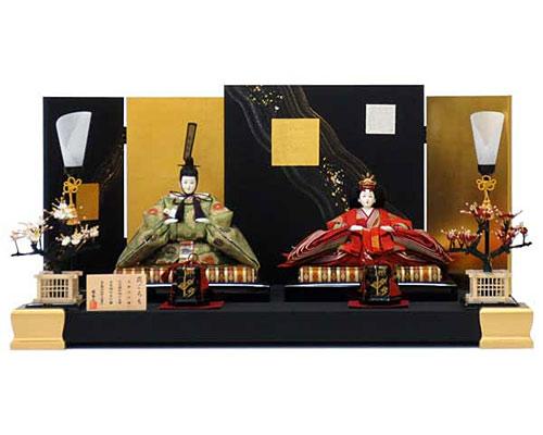 ひな人形 親王飾り 平飾り 平安優香作 黒包貼金足付飾り台