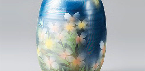 九谷焼 8号 花瓶 フラワーベース 花にシダ