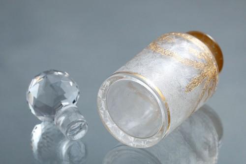 1870年頃 バカラ(仏) 腐食・エナメル金彩 クリスタルガラスの香水瓶 14.3cm