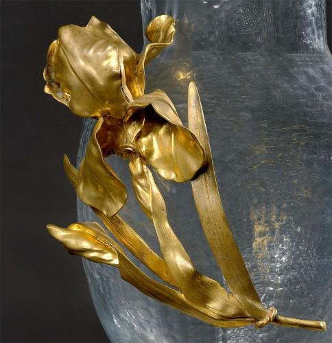 バカラ クリスタル & 金色ブロンズ装飾 花瓶