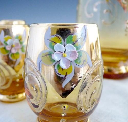 ボヘミアガラス シェリー酒器セット アンバー