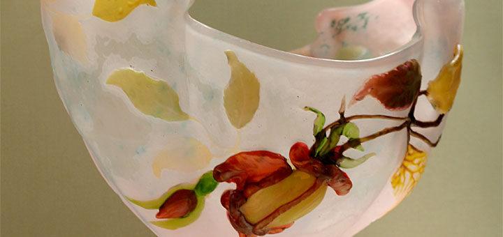 エミール・ガレ 花瓶 フランスの薔薇