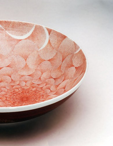 九谷焼 福島武山 赤網手鉢