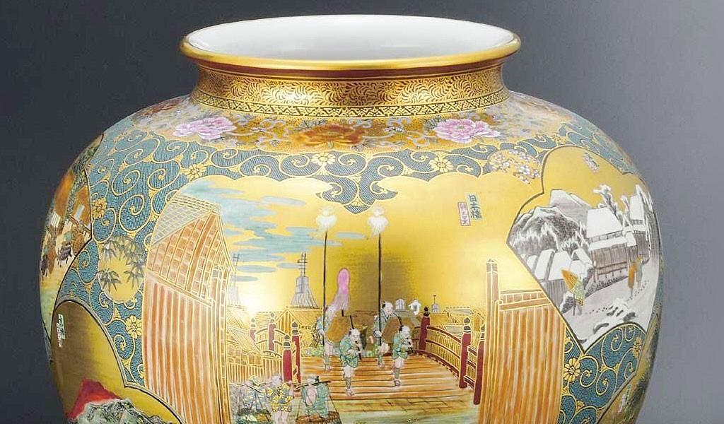 九谷焼 15号花瓶 本金東海道 西田掬翠