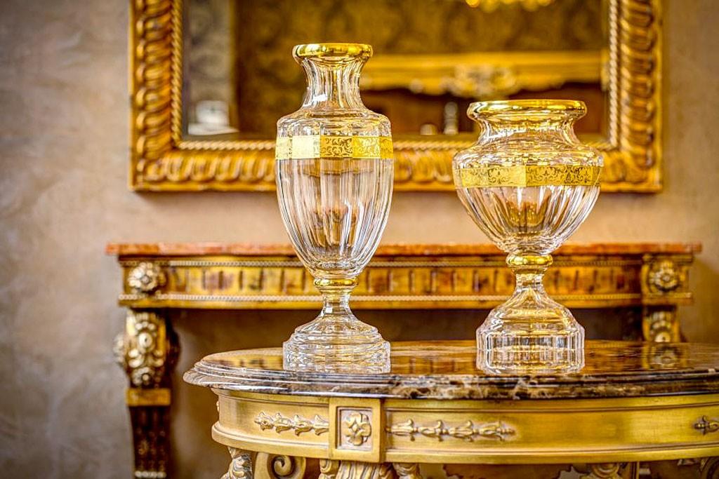 ボヘミアガラス モーゼル 花瓶 メラーノ ハンドカット ギルデッド ( Bohemian Glass Moser Merano 3206, Hand Cut and Gilded Vase )