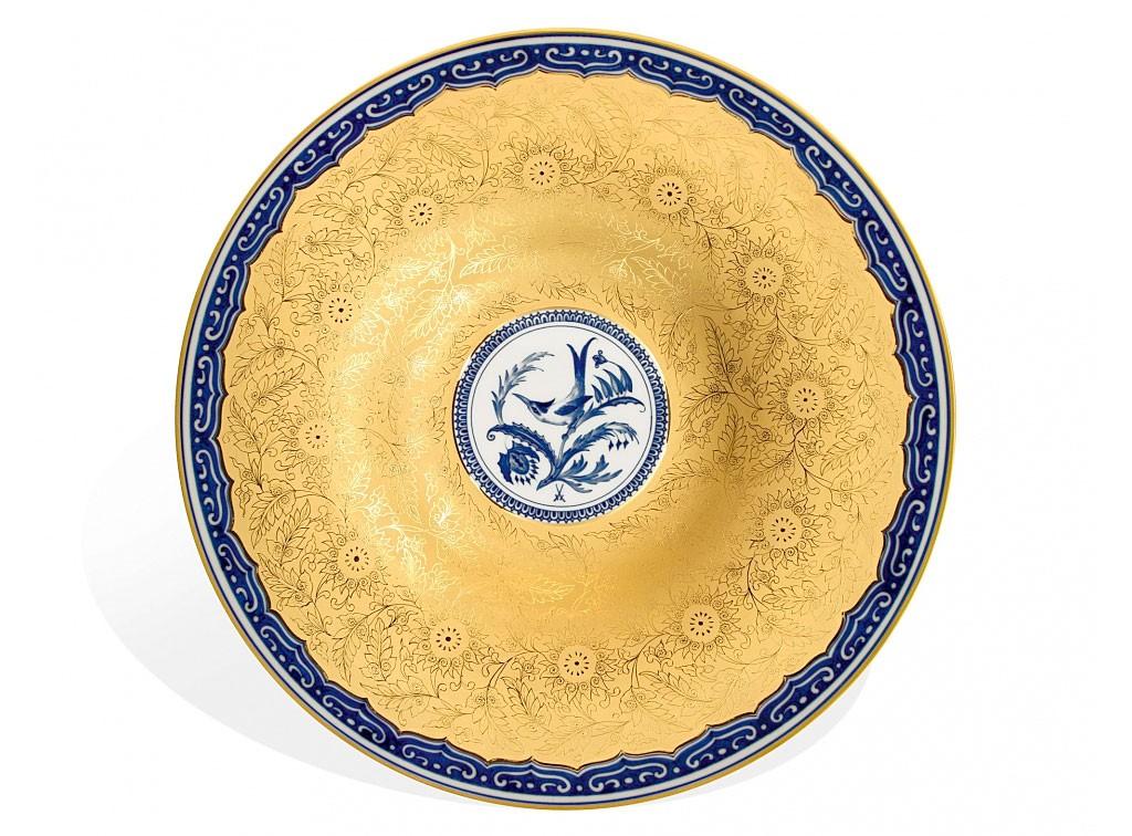 """マイセン 大皿 「ハチドリ」 ( MEISSEN® """"Hummingbird"""" dish in cobalt blue )"""