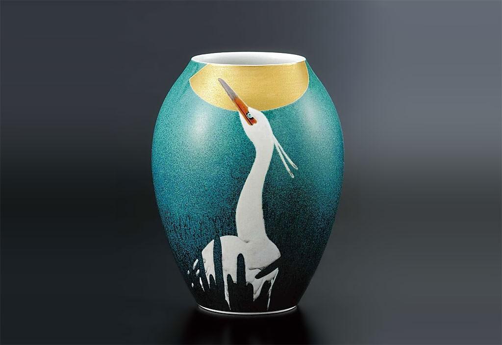 九谷焼 8号 花瓶 白鷺の図 武腰一憲