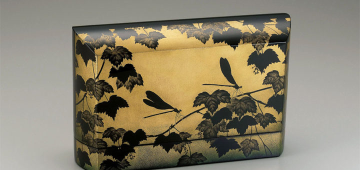 漆器 鳥毛清 沈金飾箱「緑風」