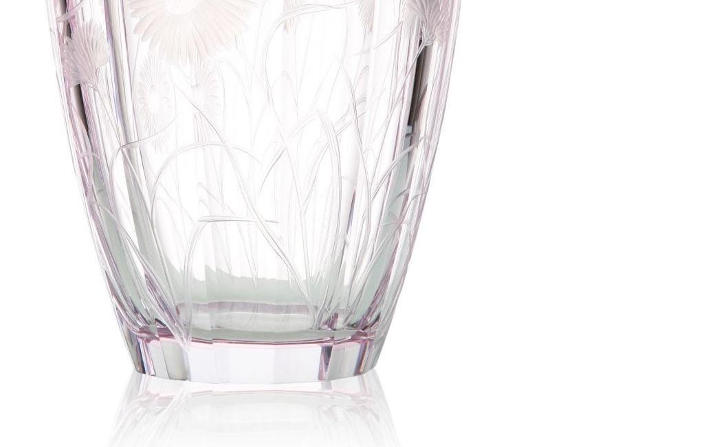ボヘミアガラス モーゼル 花瓶 ブロッサミング メドウ 3290 ハンドカット ( Bohemian Glass Moser Blossoming Meadow 3290, Hand Cut and Engraved Underlay Vase )