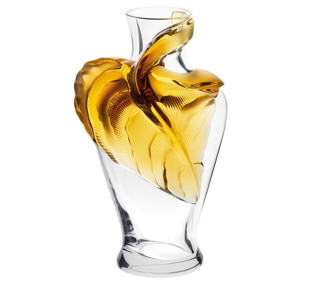 ラリック 花器 タネガ アンバー ( Lalique Tanega Vase, Amber Crystal Limited Edition )