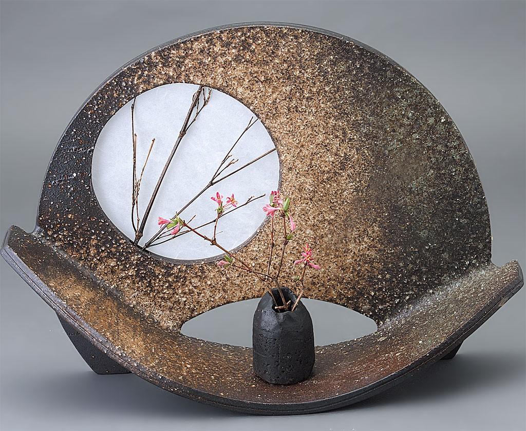 信楽焼 扇型 花器
