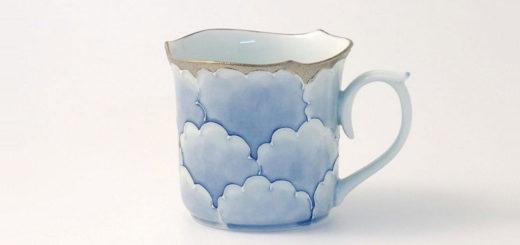 有田焼 文山窯 マグカップ 牡丹輪花 銀シルバー