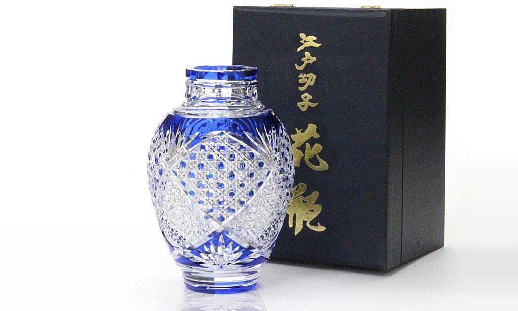江戸切子 花瓶 麻の葉に八角籠目紋