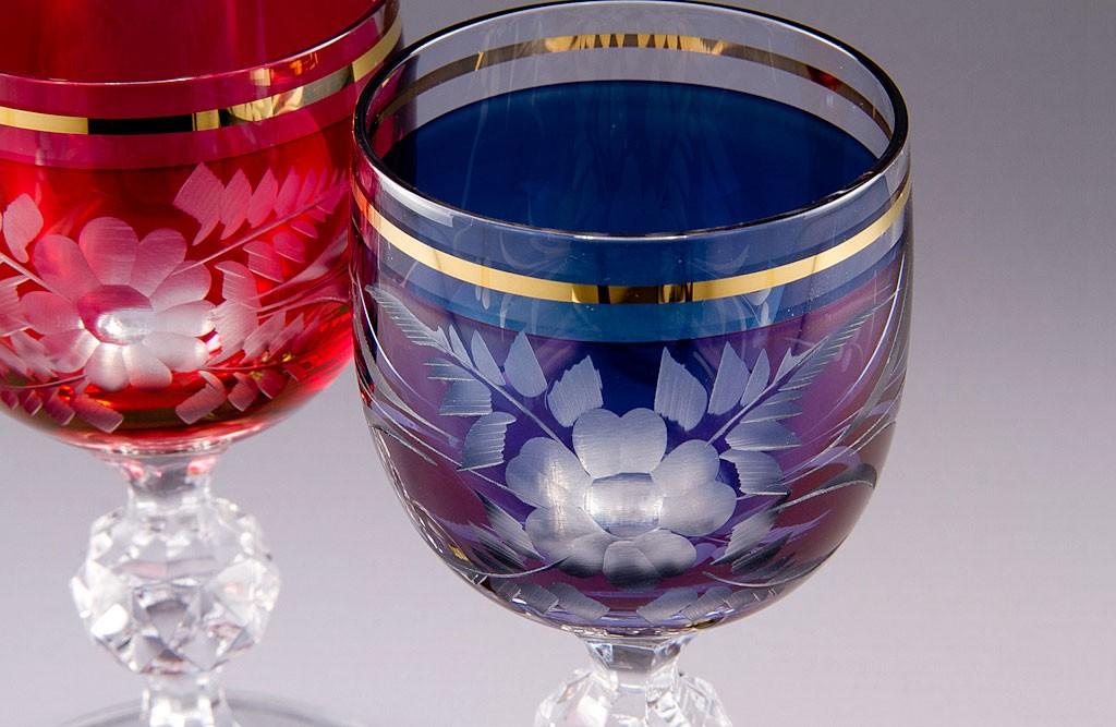 ボヘミアガラス カリガラス ワイン ペア ( Bohemian Glass Potash Glass Wine Pair )