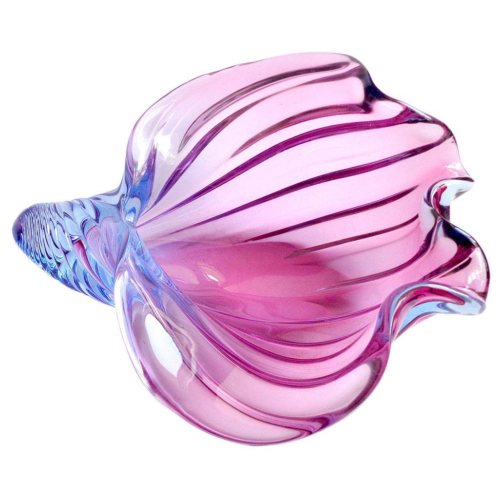ヴェネチアガラス アルフレッド・バルビーニ オブジェ 貝殻彫刻 ブルー&パープル ( Venetian Glass Alfredo Barbini Blue and Purple Conch Shell Sculpture )