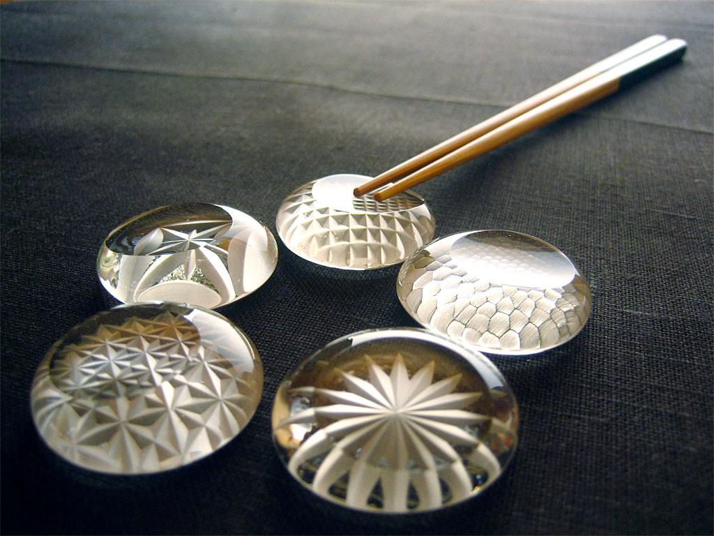 江戸切子 箸置 クリア