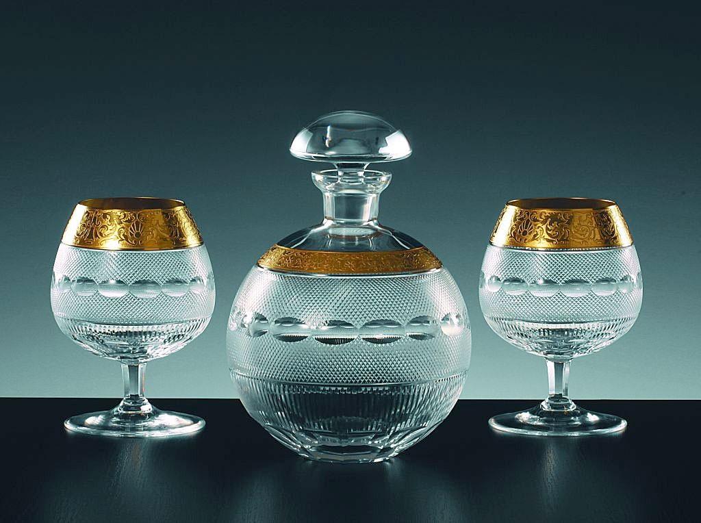 ボヘミアガラス モーゼル ブランデーセットII 16520/10160/OP ( Bohemian Glass Moser Brandy set II 16520/10160/OP, luxury 3 pcs gift set )