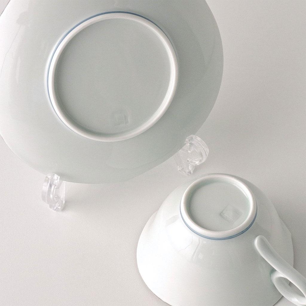 有田焼 文山窯 コーヒー碗皿 プラチナブルー 菊輪花