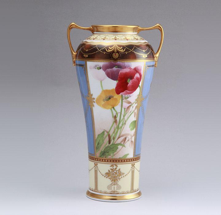 ノリタケ スタジオコレクション 花瓶 多色金彩芥子画 オールドノリタケ復刻版