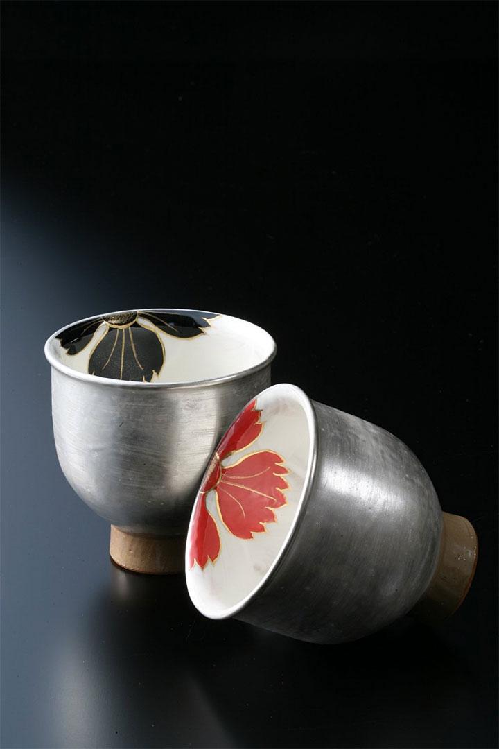 京焼・清水焼 陶あん窯 フリーカップ 撫子 黒/赤セット 京友禅