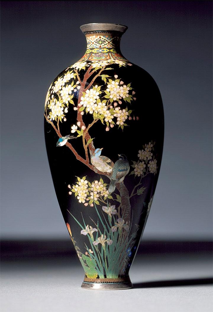 七宝焼 並河靖之 花鳥文花瓶