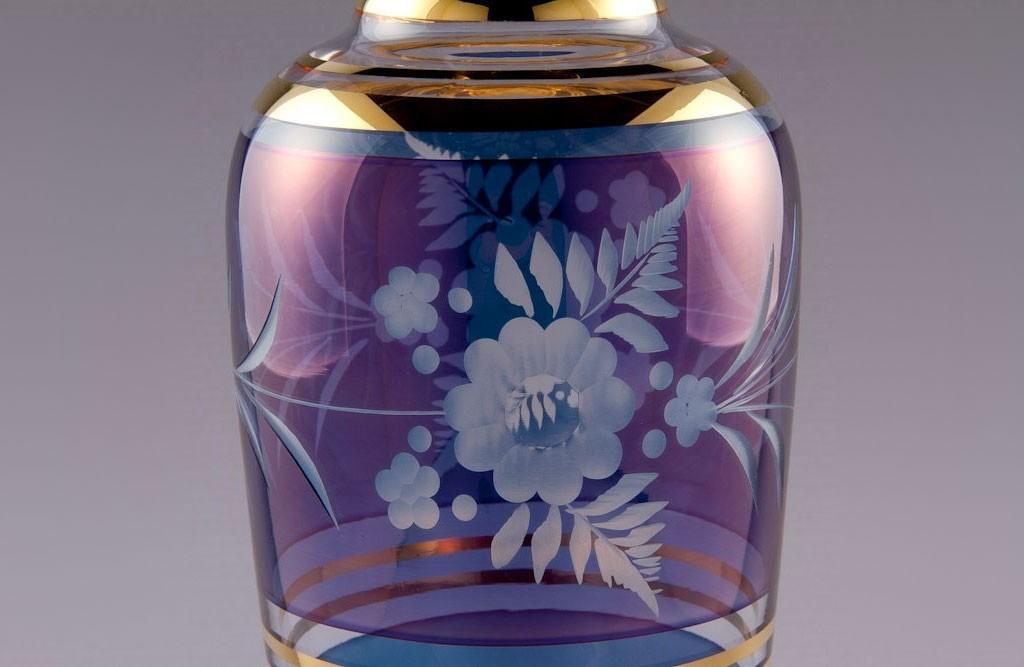 ボヘミアガラス カリガラス 花瓶 青 ( Bohemian Glass Potash Glass Vase Blue )