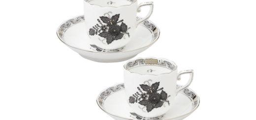 ヘレンド アポニーブラックプラチナ モカカップ&ソーサーペア ( Herend Apponyi Black Platinum Mocha Cup & Saucer Pair )