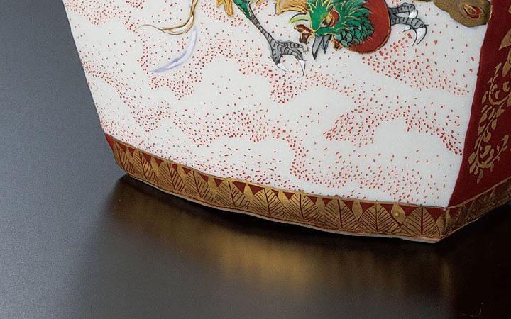 九谷焼 高明 4号香炉 鳳凰図