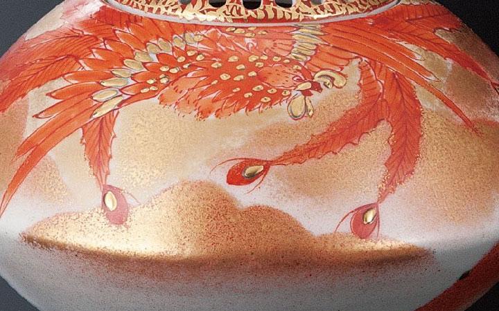 九谷焼 福田良則 九谷焼 4.5号香炉 赤絵鳳凰