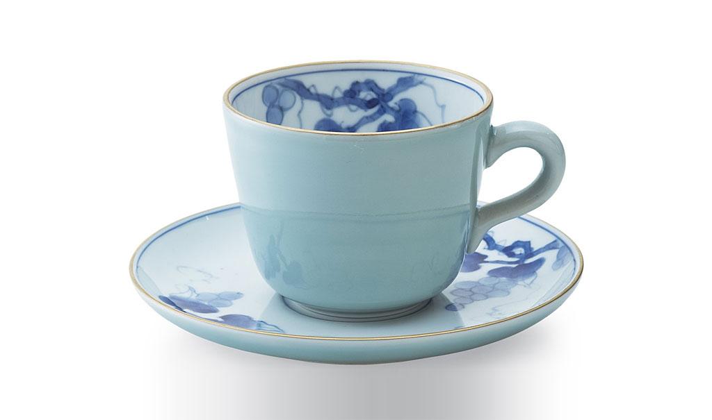 有田焼 賞美堂 其泉窯 青磁ぶどう文 モーニングカップ