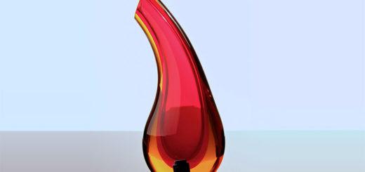 ヴェネチアガラス アントニオ・ダ・ロス 花瓶 レッド・イエロー ( Venetian Glass Antonio Da Ros Vase in Red and Yellow )