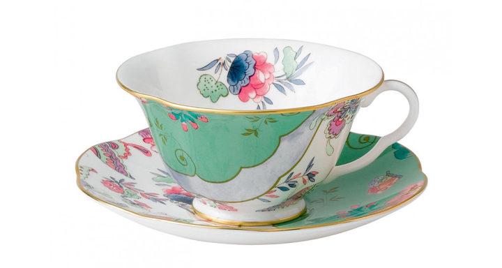 ウェッジウッド バタフライブルーム ティーカップ&ソーサー グリーン ( Wedgwood Butterfly Bloom Teacup & Saucer Green )