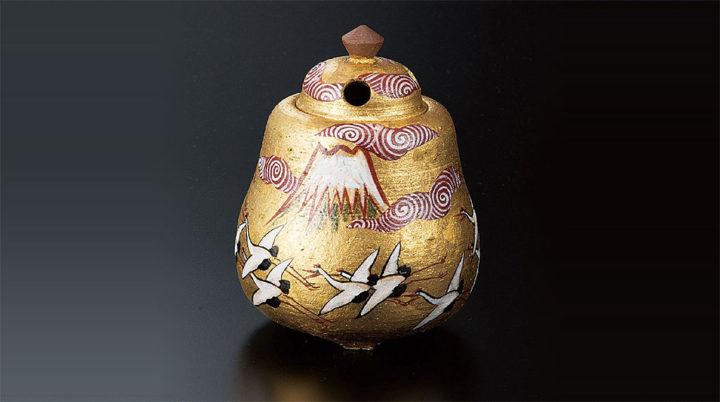 九谷焼 北村隆 4.5号香炉 金箔彩富士に鶴