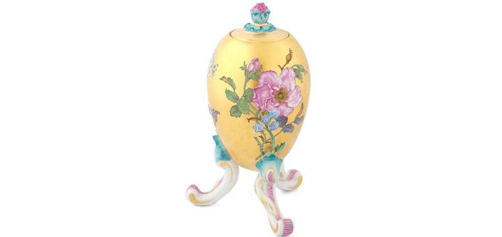 マイセン スパイスボックス 「スワンサーヴィス」 ( MEISSEN® Oviform Vessel with FF Flower Portraits After Copperplate Engravings )