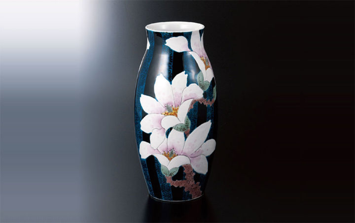 九谷焼 福田良則 10号花瓶 青手こぶし