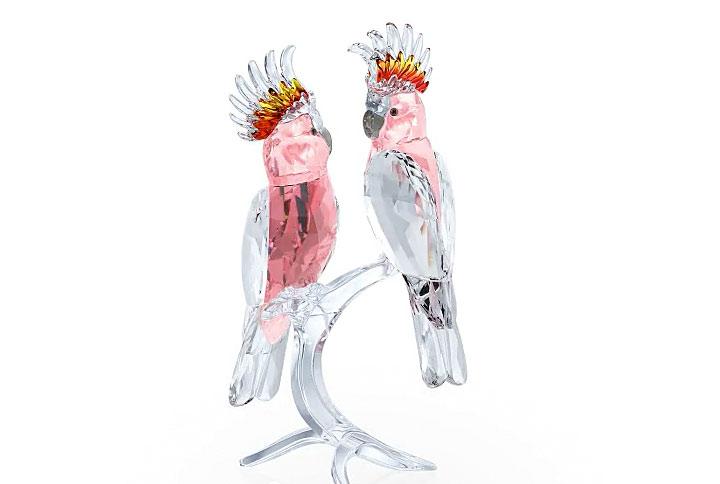 スワロフスキー フィギュリン クルマサカオウム ( Swarovski Figurines Pink Cockatoos )