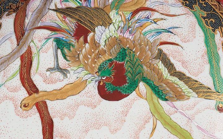 九谷焼 高明 10.5号飾皿 鳳凰図