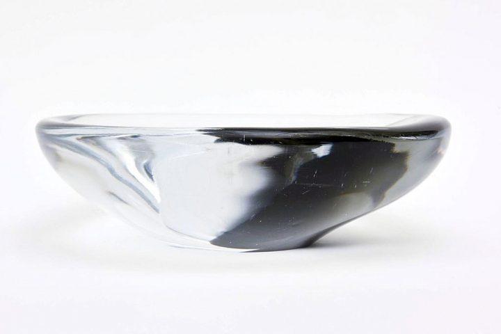 ヴェネチアガラス アントニオ・ダ・ロス 彫刻のようなボウル ( Venetian Glass Antonio Da Ros Chunky Sommerso Sculptural Glass Bowl )