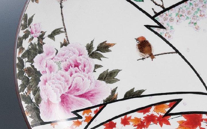 九谷焼 中村陶志人 12号飾皿 四季の図