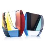ボヘミアガラス モーゼル 花瓶 モンドリアン 3374
