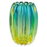 ヴェネチアガラス アルフレッド・バルビーニ 花瓶 ブルー グリーン リブド ( Venetian Glass Alfredo Barbini Sommerso Blue Green Ribbed Vase )