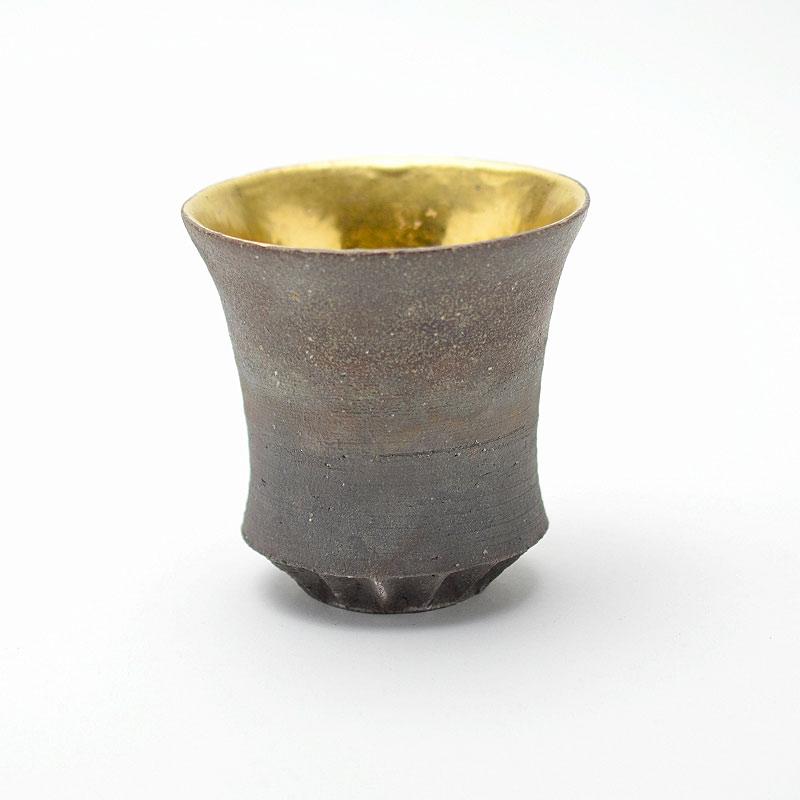 萩焼 松野創平 ぐい呑 刻高台黒陶金彩