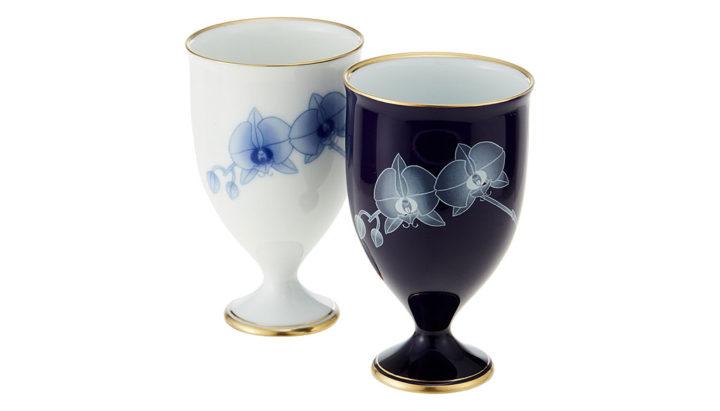 有田焼 香蘭社 ペアワインカップ 胡蝶蘭