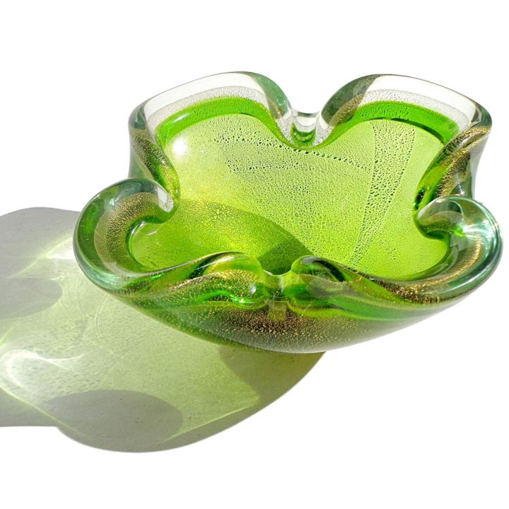 ヴェネチアガラス ボウル グリーン ゴールド ソッメルソ ( Venetian Glass Sommerso Green Gold Flecks Italian Art Glass Decorative Folded Rim Bowl )