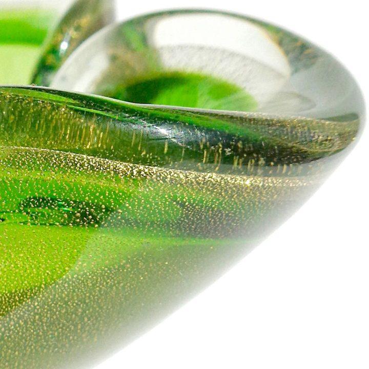 ヴェネチアガラス ボウル グリーン ゴールド ソッメルソ ( Venetian Glass Sommerso Green Gold Flecks Italian Art Glass Decorative Folded Rim Bowl )