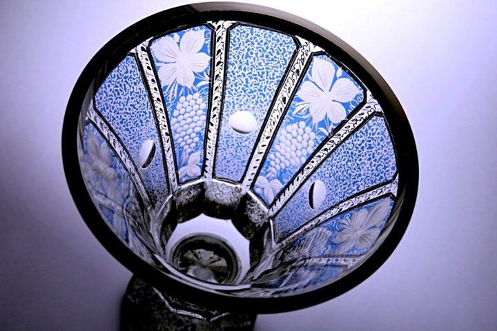 ボヘミアガラス ラスカ モドレー 花瓶 ( Bohemian Glass Laska Modre Vase )