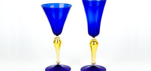 ヴェネチアガラス ゴブレット ペア ブルー&ゴールド ( Venetian Glass Set of Two Goblets Blue and Gold )