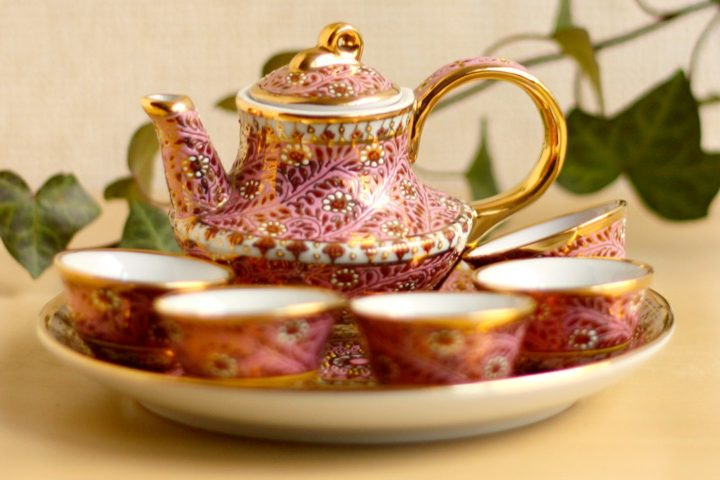 ベンジャロン焼 ティーセット ピンク