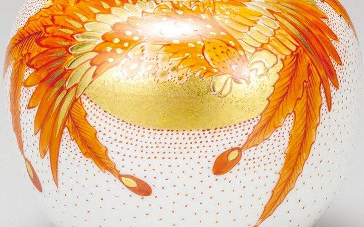 九谷焼 福田良則 4号香炉 赤絵鳳凰