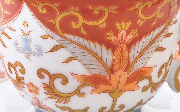 有田焼 賞美堂 其泉窯 赤濃金彩唐草 コーヒー碗皿